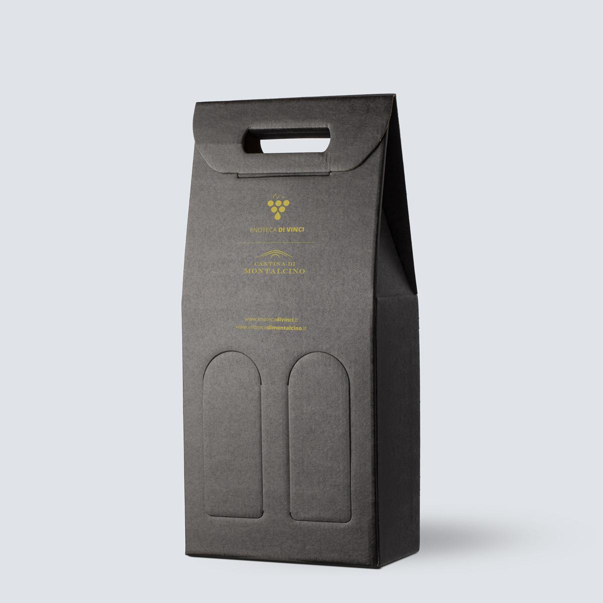 Confezione in kraft nero da 2 bottiglie - OMAGGIO