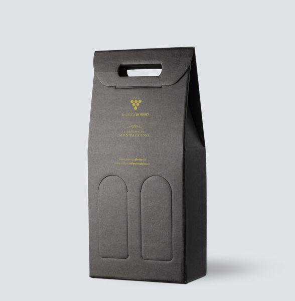 Confezione in kraft nero da 2 bottiglia - OMAGGIO