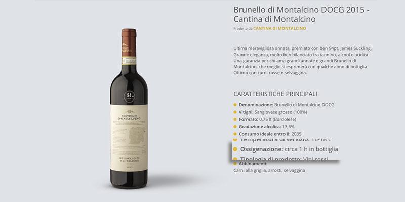 Indicazione sulla scheda prodotto di quanto tempo prima stappare un vino
