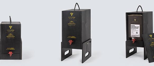 vino in bag in box con cantinetta in legno